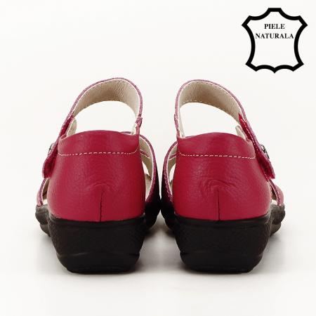 Sandale rosii din piele naturala Agata4