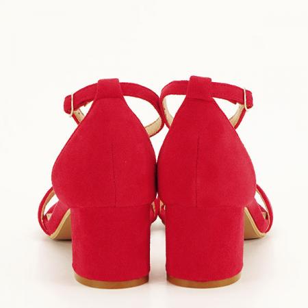 Sandale rosii din velur Lorena [5]