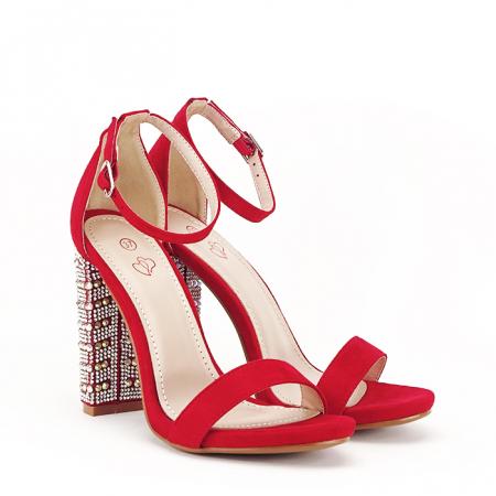 Sandale rosii cu pietricele pe toc Cleopatra [2]