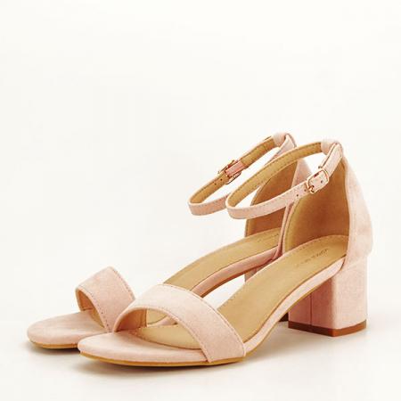 Sandale roz deschis din velur Lorena [0]