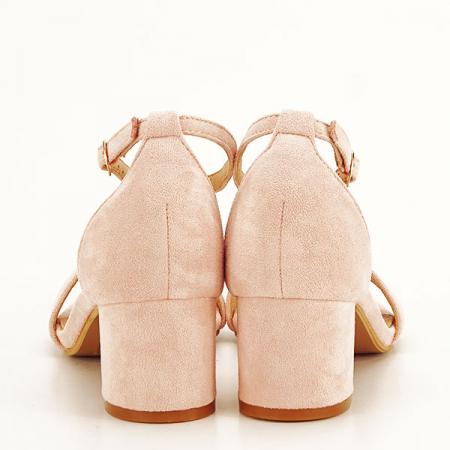 Sandale roz deschis din velur Lorena [5]