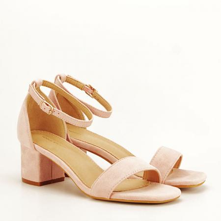 Sandale roz deschis din velur Lorena [2]