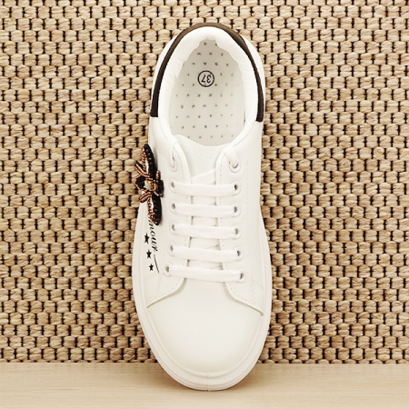 Sneakers alb cu brosa Riana [6]