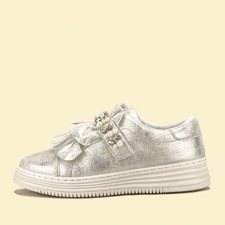Sneakers argintiu cu perle Gloria0