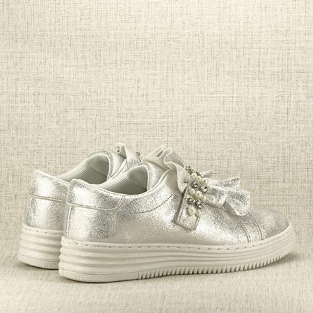 Sneakers argintiu cu perle Gloria5