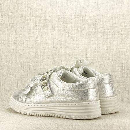 Sneakers argintiu cu perle Gloria4
