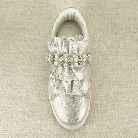 Sneakers argintiu cu perle Gloria1