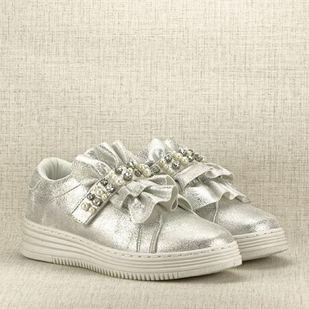 Sneakers argintiu cu perle Gloria3