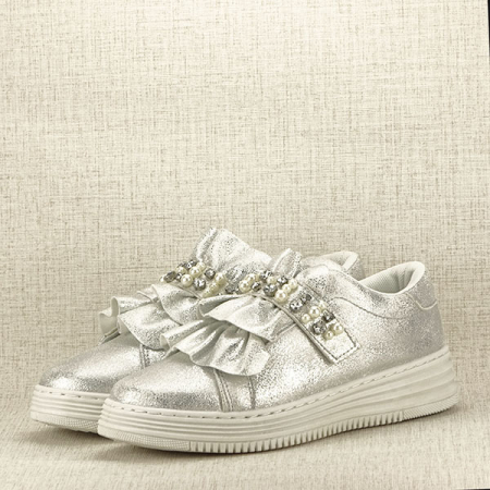 Sneakers argintiu cu perle Gloria2