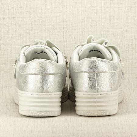 Sneakers argintiu cu perle Gloria6