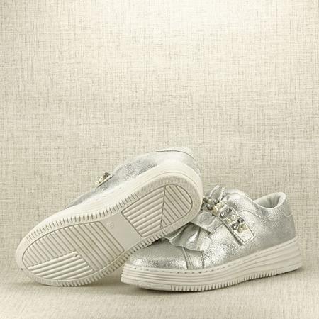 Sneakers argintiu cu perle Gloria7