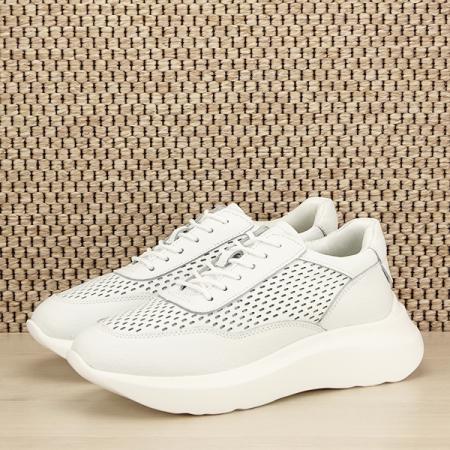 Sneakers piele naturala Aniela alb [0]