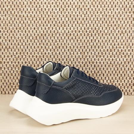 Sneakers piele naturala Aniela bleumarin [4]