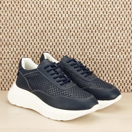 Sneakers piele naturala Aniela bleumarin [2]