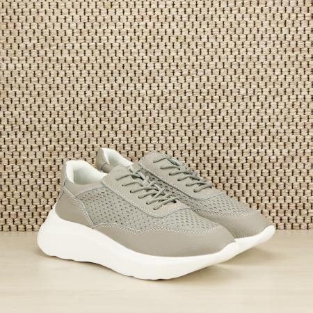 Sneakers piele naturala Aniela gri [2]