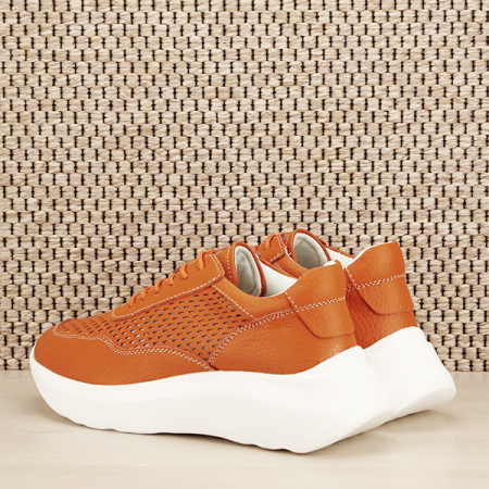 Sneakers piele naturala Aniela portocaliu [3]