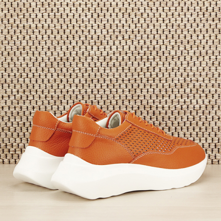 Sneakers piele naturala Aniela portocaliu [4]