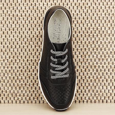Sneakers piele naturala negru, perforat, Corina [6]
