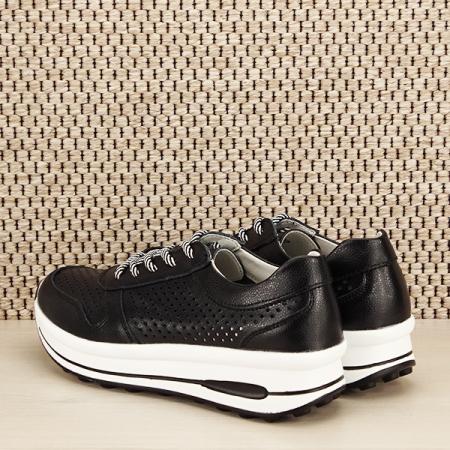 Sneakers piele naturala negru, perforat, Corina [3]
