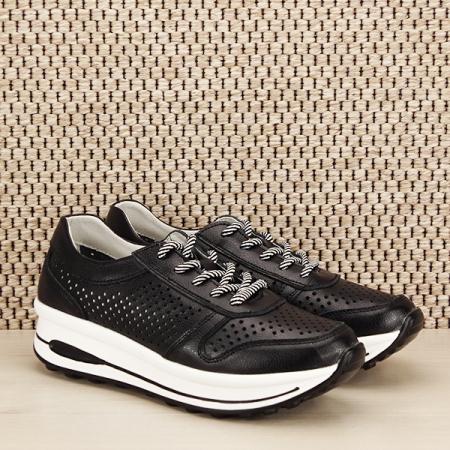 Sneakers piele naturala negru, perforat, Corina [2]
