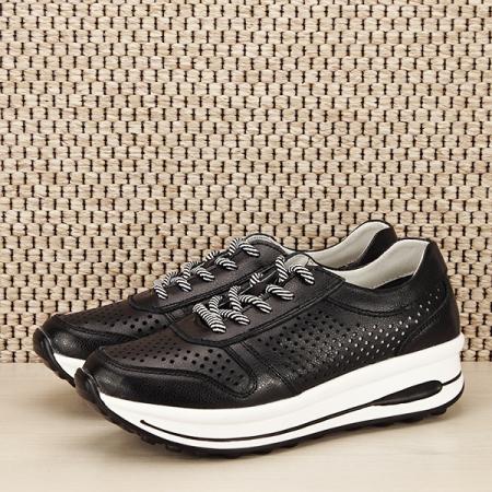 Sneakers piele naturala negru, perforat, Corina [1]