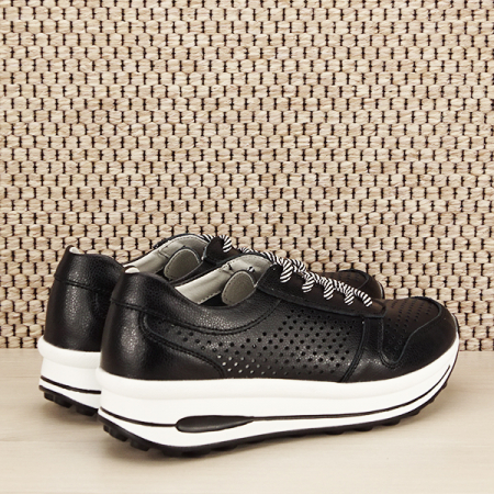 Sneakers piele naturala negru, perforat, Corina [4]