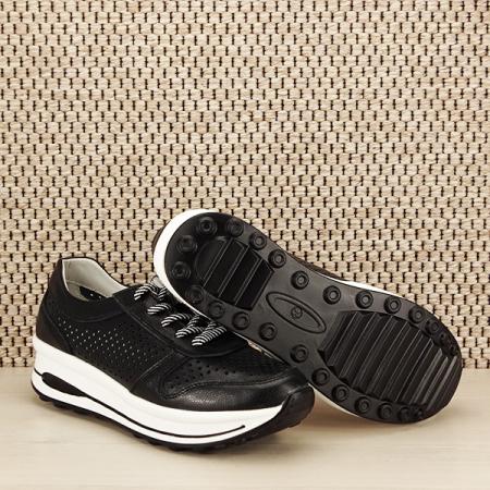 Sneakers piele naturala negru, perforat, Corina [7]
