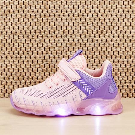Sneakers copii cu leduri Kim roz cu mov [0]