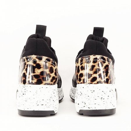 Sneakers negri cu talpa alba Limana5