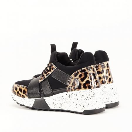 Sneakers negri cu talpa alba Limana4