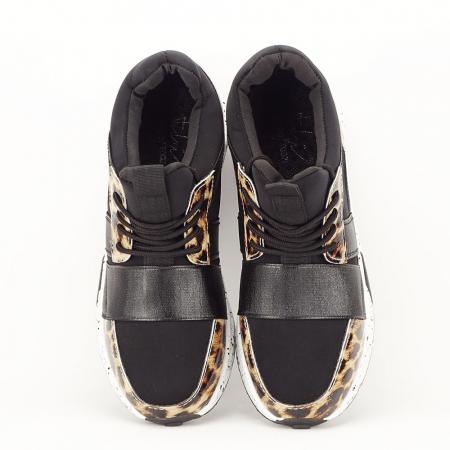 Sneakers negri cu talpa alba Limana3