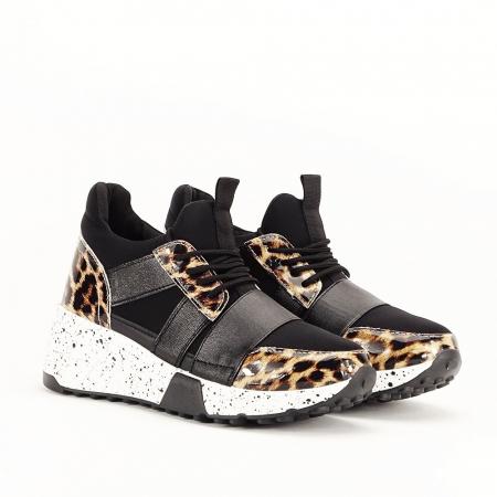 Sneakers negri cu talpa alba Limana7