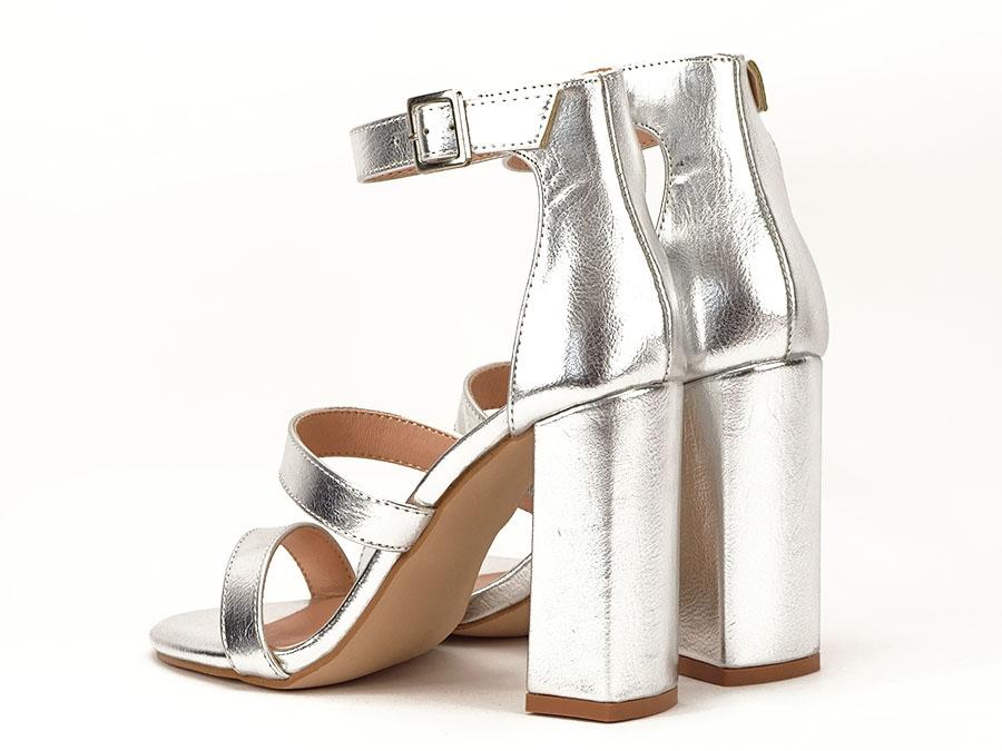 aspect detaliat cum să cumpere sosesc Sandale argintii cu toc gros Evelina - Sofiline