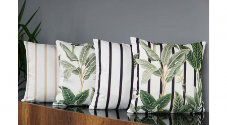 TROPIKAL Set 2 fete de perne decorative frunze + dungi negre 43x43 cm [4]