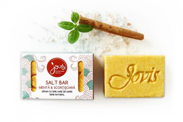 Salt Bar - Menta & Scortisoara - Sapun Natural cu Sare de Mare Jovis 100g 0