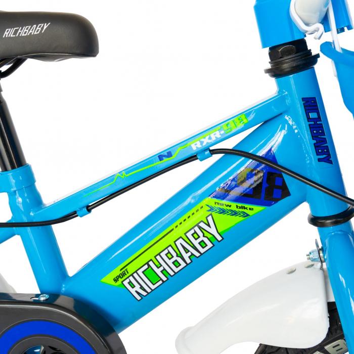 """Bicicleta baieti Rich Baby R1407A, roata 14"""", C-Brake, roti ajutatoare cu LED, 3-5 ani, albastru/verde  [4]"""