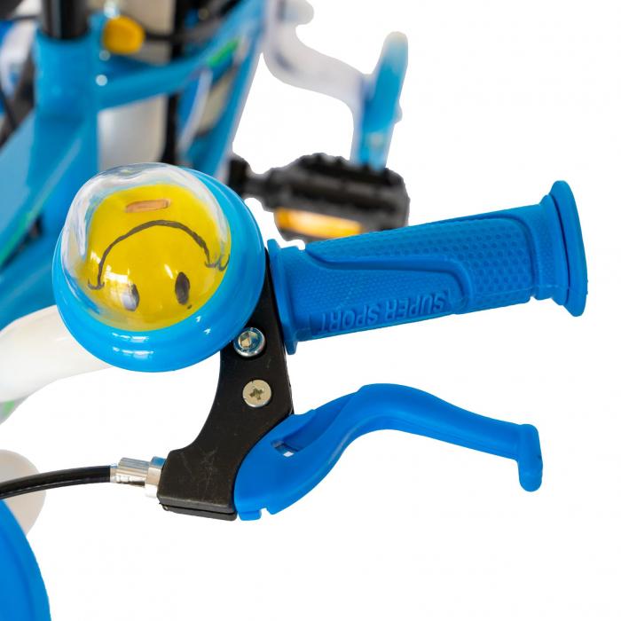 """Bicicleta baieti Rich Baby R1407A, roata 14"""", C-Brake, roti ajutatoare cu LED, 3-5 ani, albastru/verde  [8]"""