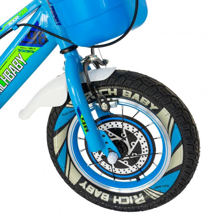 """Bicicleta baieti Rich Baby R1407A, roata 14"""", C-Brake, roti ajutatoare cu LED, 3-5 ani, albastru/verde  [5]"""