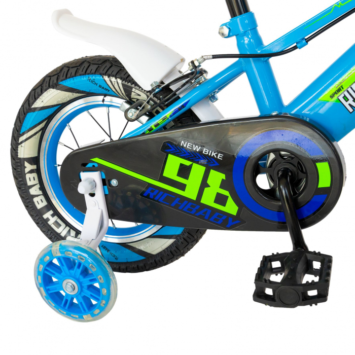 """Bicicleta baieti Rich Baby R1407A, roata 14"""", C-Brake, roti ajutatoare cu LED, 3-5 ani, albastru/verde  [1]"""