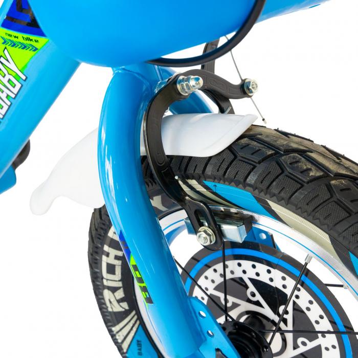 """Bicicleta baieti Rich Baby R1407A, roata 14"""", C-Brake, roti ajutatoare cu LED, 3-5 ani, albastru/verde  [6]"""