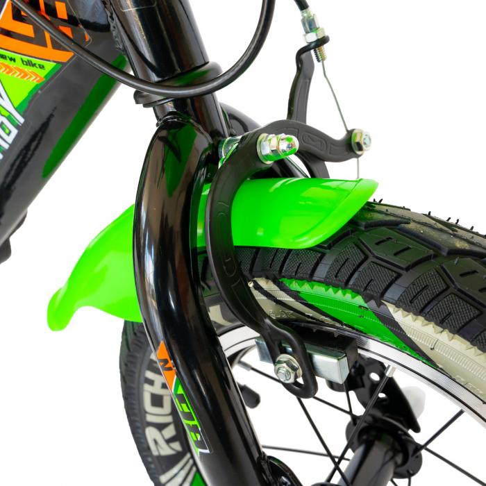 """Bicicleta baieti Rich Baby R1407A, roata 14"""", C-Brake, roti ajutatoare cu LED, 3-5 ani, negru/verde  [6]"""
