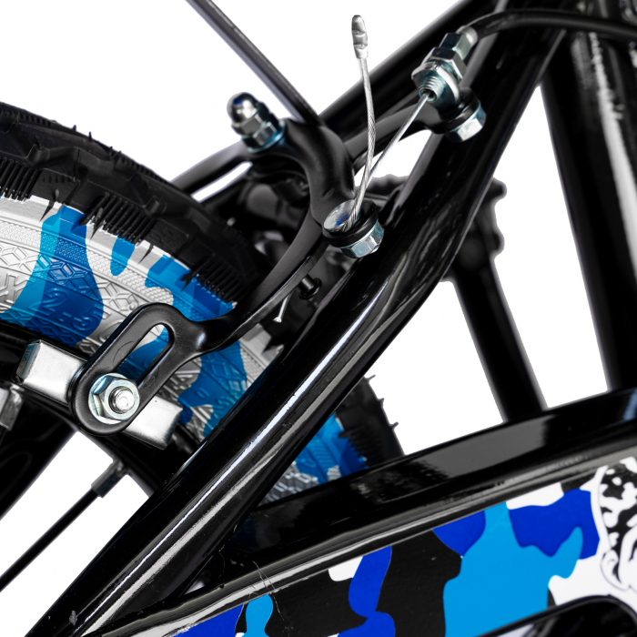 "Bicicleta baieti RICH BABY R14WTA, roata 14"", roti ajutatoare cu LED, 3-5 ani, culoare negru/albastru  [3]"