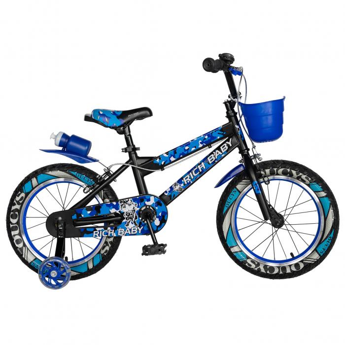 "Bicicleta baieti  RICH BABY R16WTA, roata 16"", roti ajutatoare cu LED, 4-6 ani, culoare negru/albastru    [0]"