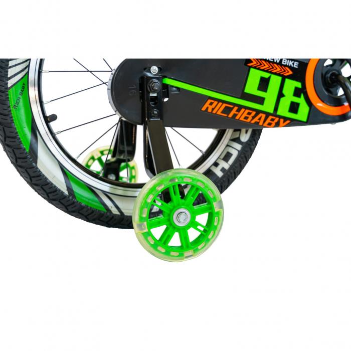 """Bicicleta baieti Rich Baby R1807A, roata 18"""", C-Brake otel, roti ajutatoare cu LED, 5-7 ani, negru/verde [3]"""