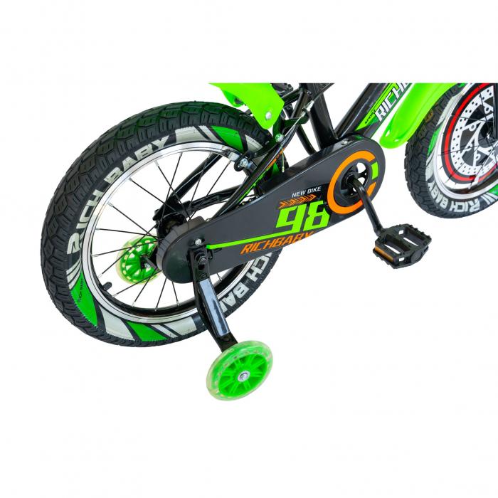 """Bicicleta baieti Rich Baby R1807A, roata 18"""", C-Brake otel, roti ajutatoare cu LED, 5-7 ani, negru/verde [1]"""