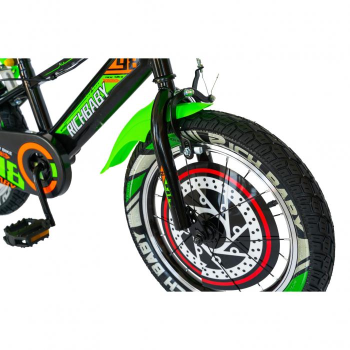 """Bicicleta baieti Rich Baby R1807A, roata 18"""", C-Brake otel, roti ajutatoare cu LED, 5-7 ani, negru/verde [6]"""