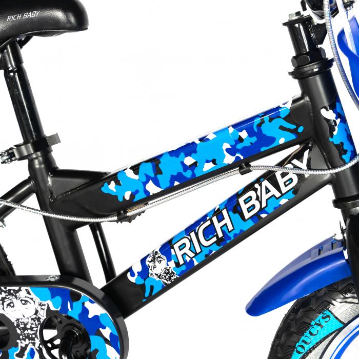 "Bicicleta baieti RICH BABY R18WTA, roata 18"", roti ajutatoare cu LED, 5-7 ani, negru negru/albastru [6]"