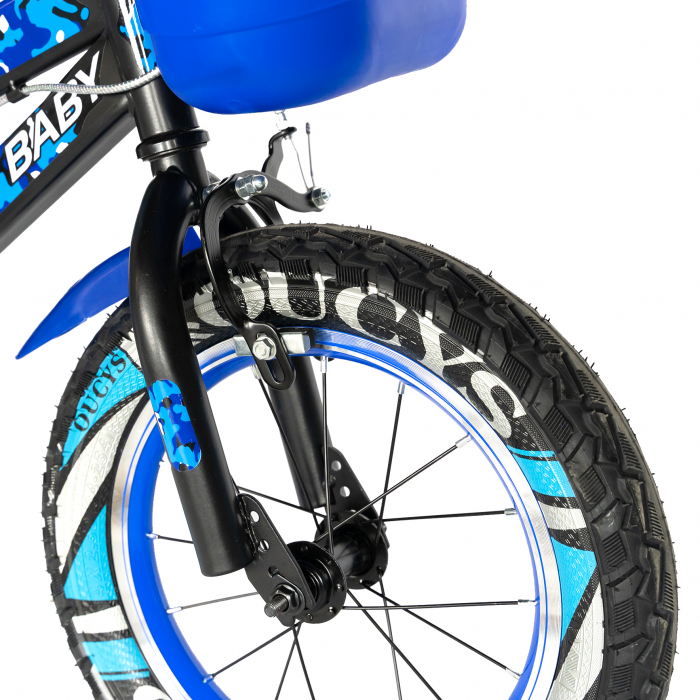 "Bicicleta baieti RICH BABY R18WTA, roata 18"", roti ajutatoare cu LED, 5-7 ani, negru negru/albastru [7]"