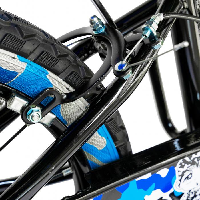 "Bicicleta baieti RICH BABY R18WTA, roata 18"", roti ajutatoare cu LED, 5-7 ani, negru negru/albastru [4]"