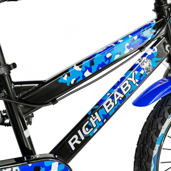 "Bicicleta baieti RICH BABY R18WTA, roata 18"", roti ajutatoare cu LED, 5-7 ani, negru negru/albastru [5]"